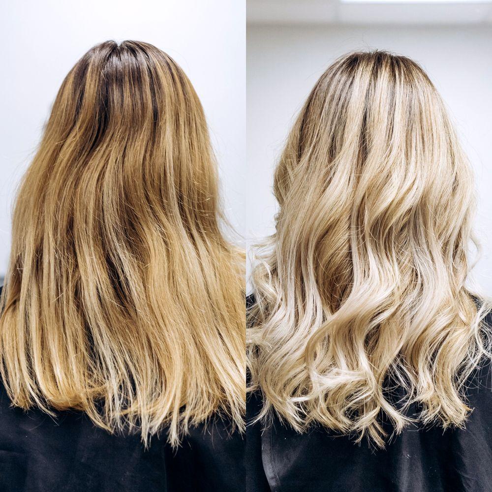 Avant / Après l'utilisation d'un shampoing bleu