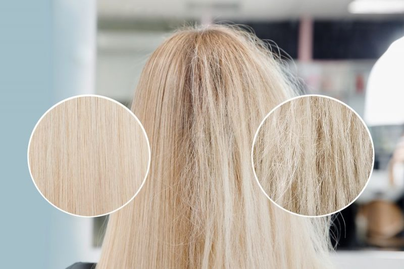 Racines des cheveux avant + après le lissage avec le dyson Corrale